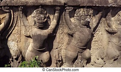 Ancient Relief Carvings from the Elephant Terrace at Angkor...