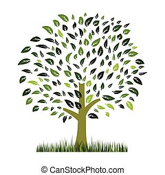 green grass and tree vector