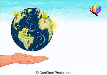 Save the Earth our green planet - Save Earth - human hand...
