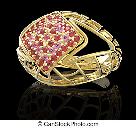 Ring with diamond and pave 3D illustration - Ring with...