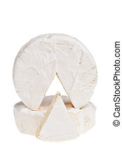 Camembert round cheese with cut out segment over white...