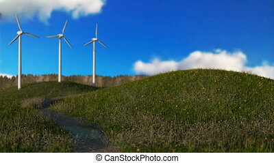 wind generators on meadow,green energy concept, seamless...