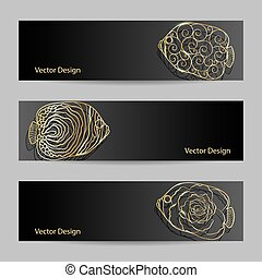 Set of horizontal banners Gold ornamental graphic fish on...