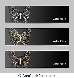 Set of horizontal banners with matal butterflies