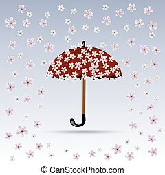 Flowers are falling on red umbrella