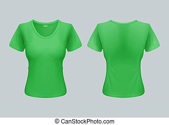 Woman T-Shirt - Women T-Shirt Template Back and Front Views...