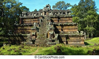 Temple Ruin with Pyramid Style Architecture in Angkor,...