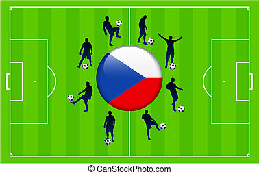 Czech Flag Icon Internet Button with Soccer Match