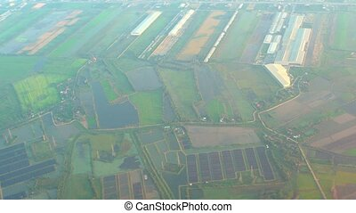 Aerial View of Commercial Fish Farm - Aerial view of...
