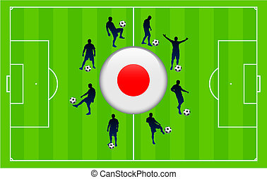 Japan Flag Icon Internet Button with Soccer Match