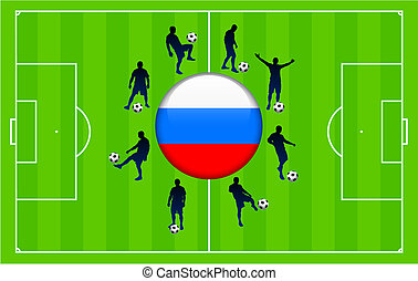 Russia Flag Icon Internet Button with Soccer Match