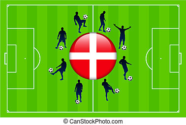 Denmark Flag Icon Internet Button with Soccer Match