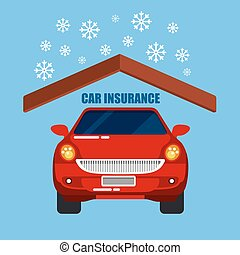 Car Insurance. Car Protection. Safety Life. Vector Illustration