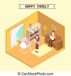 Isometric Interior. Happy Family. Isometric People. Mother with Baby. Young Parents. Vector illustration