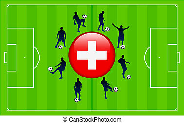 switzerland Flag Icon Internet Button with Soccer Match