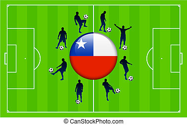 Chile Flag Icon Internet Button with Soccer Match