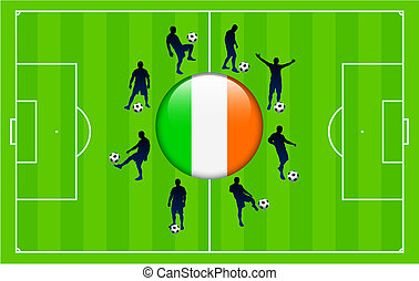 Ireland Flag Icon Internet Button with Soccer Match