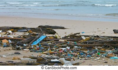 Ocean Beach heaped with garbage Ecological concept - Ocean...