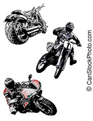 motorcycles trio - sketching of the motorcycles