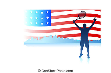 Tennis Players with United States Flag Background