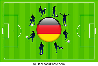 Germany Flag Icon Internet Button with Soccer Match
