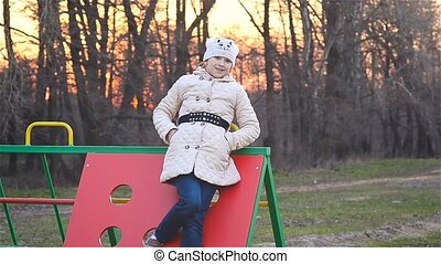 Girl smiling on the playground