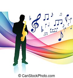 Saxophone Player on Musical Note Color Spectrum