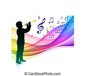 Flauta, jogador, musical, nota, cor, espectro