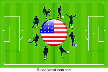 United States Flag Icon Internet Button with Soccer Match