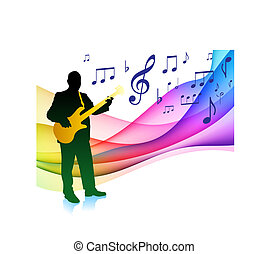 Bass Player on Musical Note Color Spectrum Original Vector...