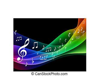 musical, notas, onda, cor, espectro