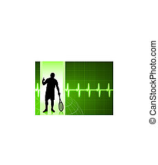 Tennis Player on Green Pulse Background