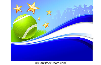 Tennis Ball on Abstract Wave Background Original Vector...
