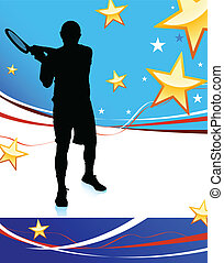 Tennis Player on Abstract Patriotic Background Original...