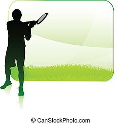 Tennis Player with Blank Nature Frame Original Vector...