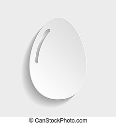 Chiken egg icon. Paper style icon with shadow on gray