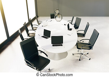 Conference room top - Sideview of small conference room with...