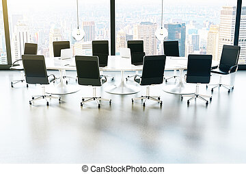Furnished conference room city view - Conference room with...