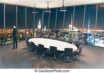 Boarding room night city view - Boarding room interior...