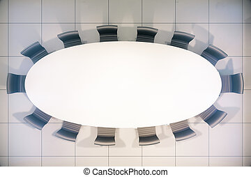 Blank conference table top - Topview of blank white...