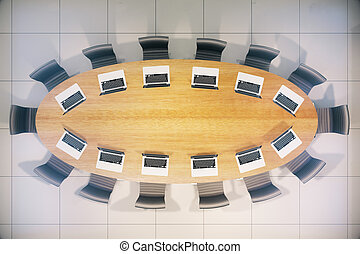 Conference table notebooks top - Topview of wooden...