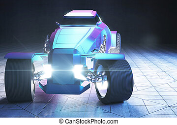 Blue Hot-Rod - Frontview of blue and violet Hot Rod car. 3D...