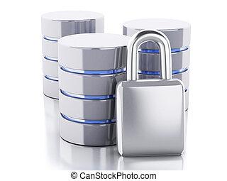 3d Data storage with padlock