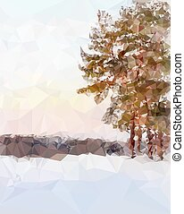Landscape in the polygonal style
