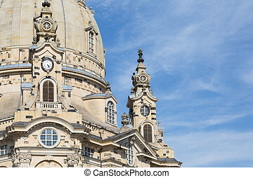 Detail of Frauenkirche in Dresden, Saxony, Germany