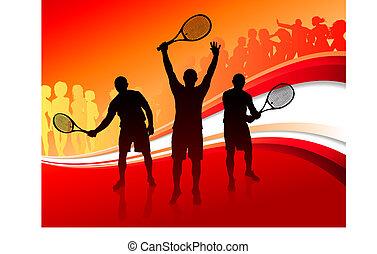 Tennis Team with Red Abstract Crowd Original Vector...