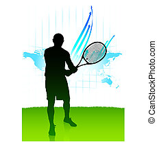 Tennis Player on World Map Background
