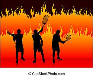 Tennis Team on Fire Background Original Vector Illustration