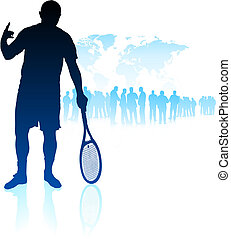 Tennis Player on World Map Background with Crowd Original...