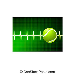 Tennis Ball on Green Pulse Background Original Vector...